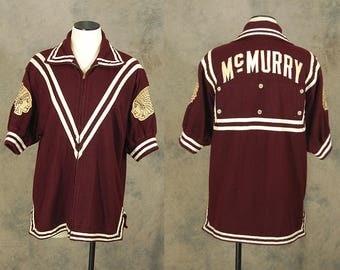 vintage 1950s Basketball Warm Up Jacket - 50s Wool Warmup Zip Front Cardigan Athletic Wear Sportswear Sz L