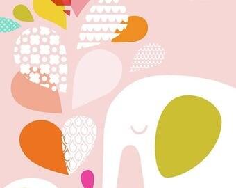 "SUMMER SALE 11.5X10.5"" elephant mommy & baby portrait format giclee print on fine art paper. pink, orange, green, white, rainbow."
