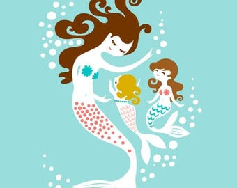 "SUMMER SALE 8X10"" mermaid mother & two daughters. soft teal blue, warm pink, dark blonde, brunette."