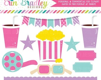 80% OFF SALE Girls Movie Theater Clipart Digital Popcorn Food Beverage Drinks Stars Bunting and Border Clip Art Graphics Pink & Purple