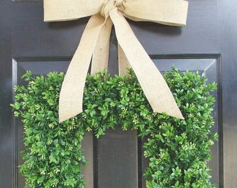 SUMMER WREATH SALE Summer Wreath- Spring Wreath- Square Boxwood Wreath for Door- Custom Bulap Bow- Housewarming Gift- 18 Inch Cottage Chic D