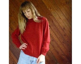 20% off SUMMER SALE. . . Flecked Knit Turtleneck Pullover Sweater - Vintage 90s - S/M