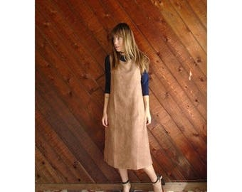 20% off SUMMER SALE. . . Brown Micro Suede Mid Length Dress - Vintage 90s - SMALL