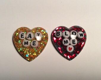 Eat Me glitter resin magnet set