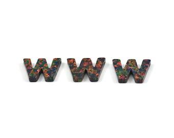 Opal W Letter - Snythetic Opal Initial Letter (10x14x2.50mm)