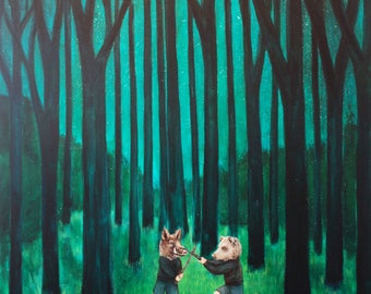 Boar And Bear Battle In The Big Woods - Fine Art Print of Original Painting