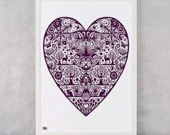 My Heart Screen Print, Pink Heart Wall Decor, Heart Wall Poster, Illustrated Heart Screen Print, Blue Heart Wall Design, Love Wall Poster