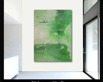 Extra large 60x43 original abstract painting on canvas by Elsisy  green white.  Free US shipping