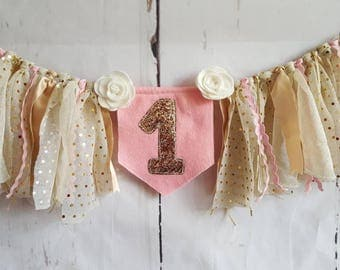 Pink and Gold -  Glitter High Chair Banner - Raggy Fabric Bunting - First Birthday Party - Photo Prop - Cake Smash