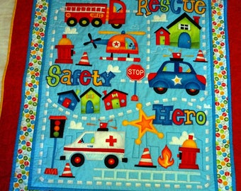 Quilt & Pillow Set Rescue Vehicles, Fire Truck, Ambulance, Police Car, Helicopter for Boy, Girl, Toddler, Baby, Kids