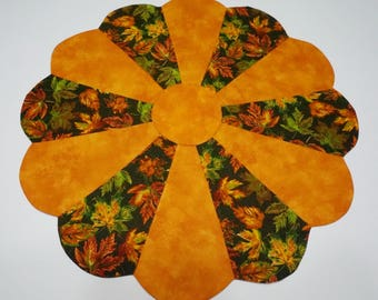 Fall Leaves Table Topper Reverses to Christmas Holiday Bells and Bows