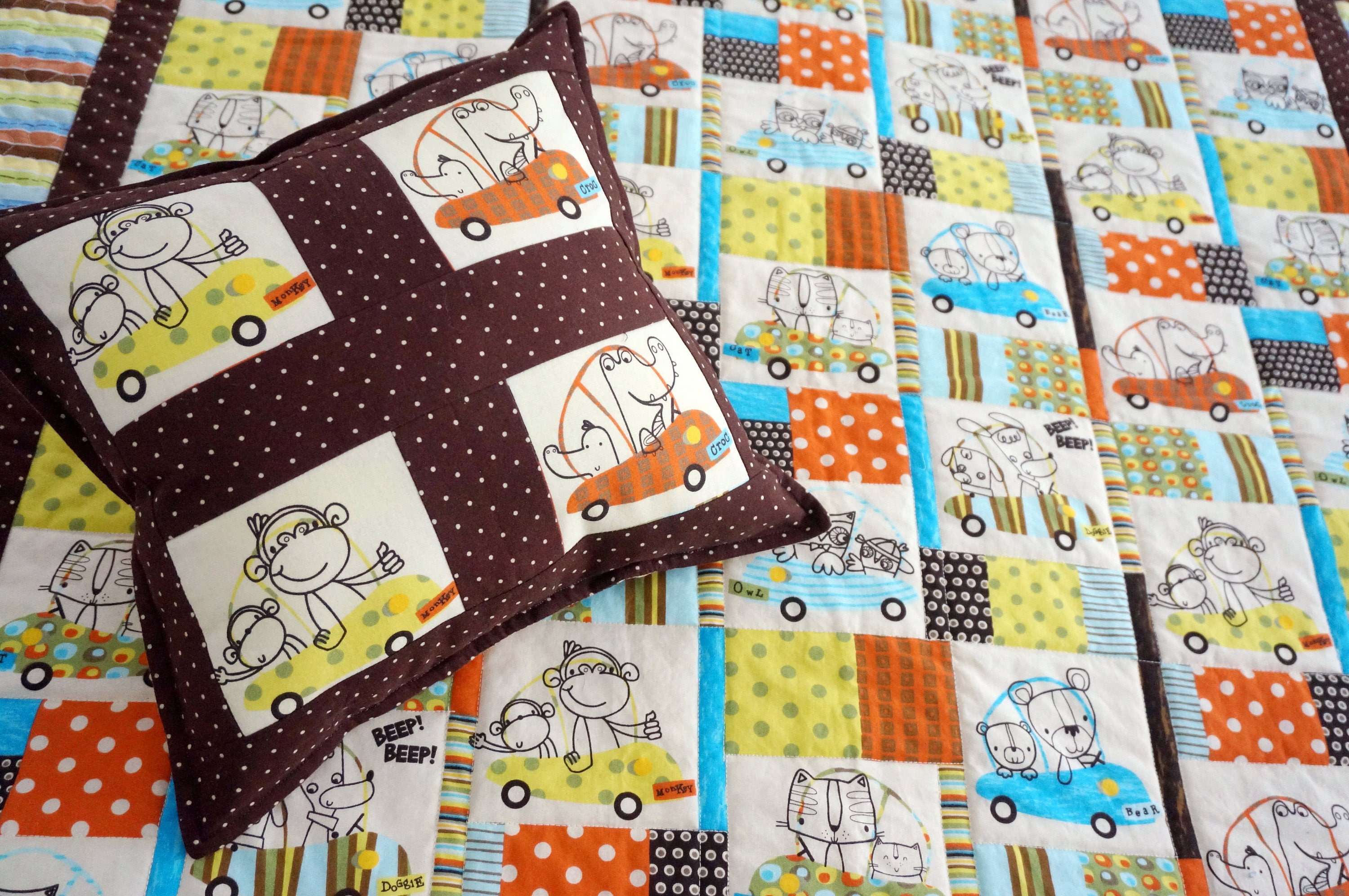 Baby Toddler Kids Quilt Amp Pillow Set With Alligators Owls