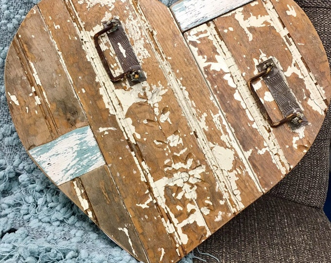 Reclaimed wood rustic beadboard heart farmhouse coastal primitive wedding decor engagement photo prop save the date Beach House Dreams OBX