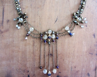 Timeless statement necklace. Swarovski and brass necklace. Bib necklace, OOAK necklace