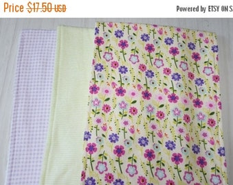 ON SALE Burp Cloth Floral Flowers Green Stripes Gingham Flannel Terry Cloth Set of 3 XL
