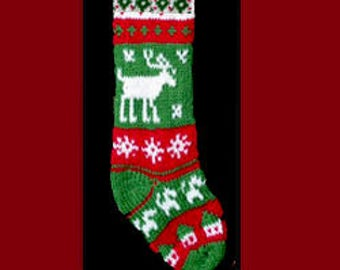 Hand knit Christmas stocking,  Personalized, made of pure wool yarn,  fully lined -- reindeer, house and snowflake