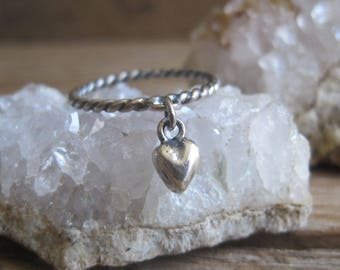 Sterling Silver Heart Ring Dangle, Fine Silver Heart, Twisted Sterling Ring, Gift for Her, Stocking Stuffer