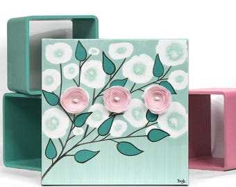 Canvas Art Mixed Media Painting of Flowers, Wall Art in Teal and Pink - Small Gift for Girl - 10x10