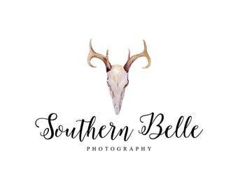 Deer Logo Deer Skull Logo Antlers Logo Rustic Logo Southern Logo Photography Logo Boutique Logo Etsy Shop Logo Affordable Brand Western