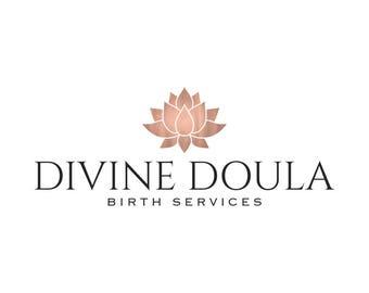 Rose Gold Logo Doula Logo Birth Services Logo Midwife Logo Lotus Logo Yoga Logo Lotus Flower Zen Logo Spa Logo Branding Package