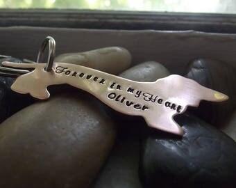 Hound dog,  dachshund Copper Keychain
