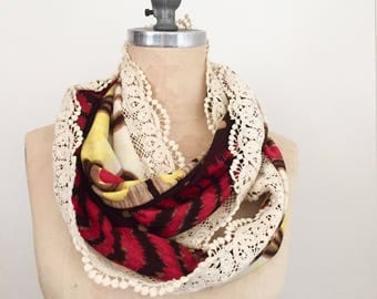 Boho Infinity Scarf in Red, Brown and Yellow Print with Lace, Ready to Ship