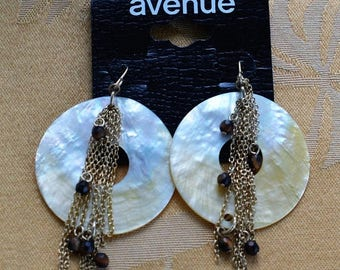 """On sale Mother of Pearl Shell Dangle Pierced Earrings, Vintage, Brown Stone, Chain Dangle, """"Avenue"""" (V2)"""