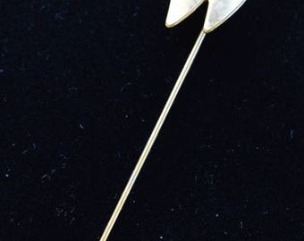 "ON SALE Letter ""W"" Stick Pin, Gold tone, Vintage (Q7)"