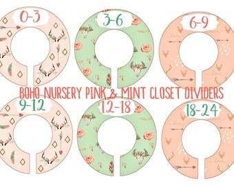Bohemian Chic Closet Dividers, Mint and Pink Nursery, Baby Clothes Dividers,  Clothes Organizer, Bohemian Nursery, Daily divider