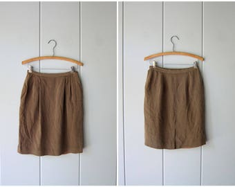 Minimal Silk Skirt Brown Silk Mini Skirt Modern Professional Silk Skirt High Waist Skirt Preppy Minimal Skirt With Pockets Women's XS Small