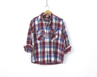 Oversized Flannel Shirt Red Magenta Plaid Flannel Button Up Slouchy Rugged Hunting Shirt Worn in Work Shirt Mens Size Large