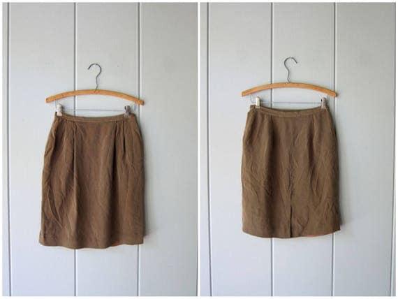 Minimal Silk Skirt Brown Silk Mini Skirt Modern Professional Silk Skirt High Waist Skirt Preppy Minimal Skirt With Pockets Women's XS Small