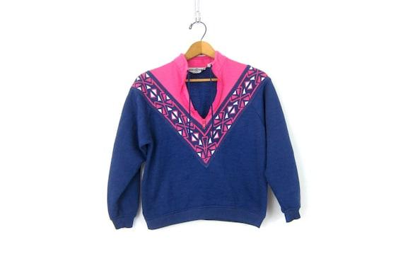 Cropped Sweatshirt Blue Pink Pullover Jumper Sweater Resort Vacation Wear Zipper Collar Retro 80s Women's Top Small Fit Women's size Small