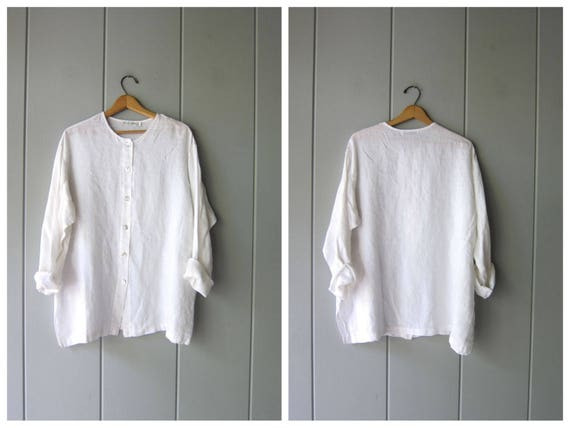 White Linen Blouse Oversized Button Up Blouse Vintage 90s Minimal Basic Long Sleeve Tunic Simple Collarless Shirt Womens Large