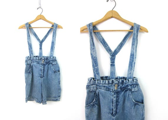 Vintage 1980's Suspender Shorts Acid Wash Denim Jumper Bibs Women's Retro Overalls Shorts Strap Trouser Shorts Size Small
