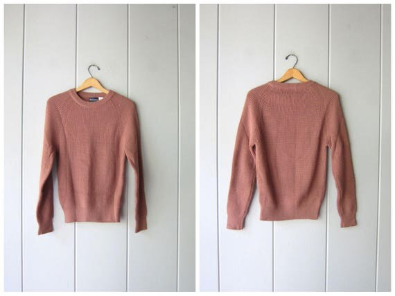 80s Brown Sweater Basic Knit Pullover Vintage Raglan Sweater Preppy Crewneck Sweater 70s Fall Pullover Womens Small Medium