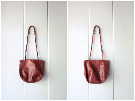 Vintage Supple Brown Leather Bag 90s Small Leather Shoulder Bag Tote Boho Purse Satchel Bag Hobo Bag Dark Brown Slouchy Purse Womens Bag
