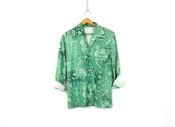 1970s Green Button Up Flower Print Floral Pattern Top Blouse Long Sleeve Retro Oxford Shirt Men's Size Medium