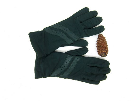 Green Stretch Gloves Leather Palm Gloves Vintage Driving Gloves Winter gloves Women's Size Small Medium