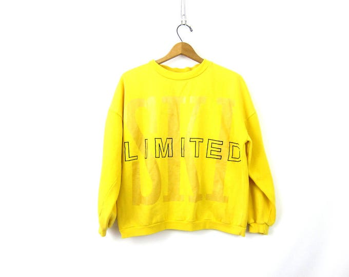 Vintage Yellow The LIMITED SKI Sweatshirt Cropped Cotton Pullover Jumper Sweater Resort Vacation Wear Women's Large