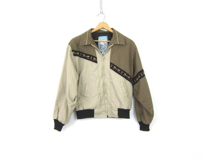 Tribal Chore jacket southwestern Rancher Jacket Cowboy Western Khaki & Black Ranch Hand Farmer Hipster Coat Men's Size Medium
