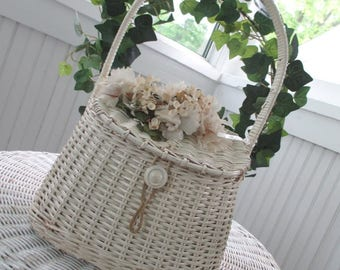 Vintage Wicker Purse Basket * Millinery Flowers * Shabby Chic * Cottage * Jeanne d' Arc