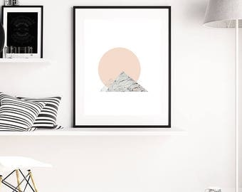 Scandinavian style minimal art print, abstract moon & mountain. Marble Mountains by Jules Tillman. millennial pink / peach dark grey marble