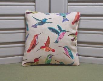 """Hummingbirds, lavender sachet, garden birds, scented pillow, lingerie drawer sachet, 4"""" by 4"""" size, 100% dried lavender for lovely scent"""