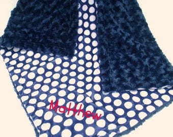 SALE Navy Polka Dot Minky Baby Blanket Can Be Personalized