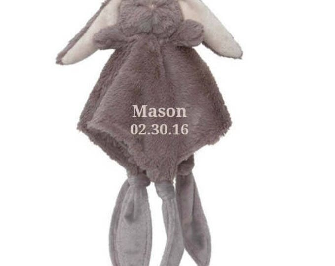 SALE Personalized Bunny Rabbit Minky Security Blanket, Personalized Baby Shower Gift, Embroidered Baby Keepsake