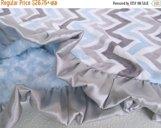 SALE Blue and Gray Chevron Minky Baby Blanket Can Be Personalized
