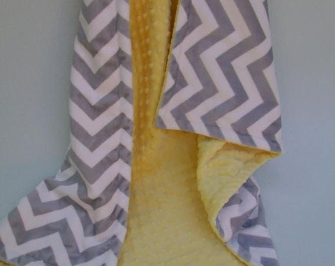 SALE Saffron Yellow Minky Dot  with Gray Chevron Blanket for baby Toddler or Adult Can Be Personalized