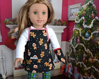 18 inch Doll Clothes - Gingerbread Apron and Pot Holder - BLACK WHITE BROWN - Stocking Stuffer - for boy or girl doll -  fits American Girl