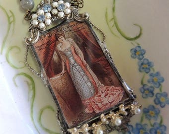 Soldered Glass Assemblage Necklace. The 2nd Mrs. Astor, Vintage Ephemera Jewelry - REDUCED